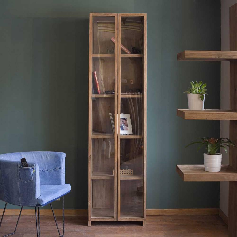Шкаф витринный из массива дерева ценных пород Fissa высокий купить