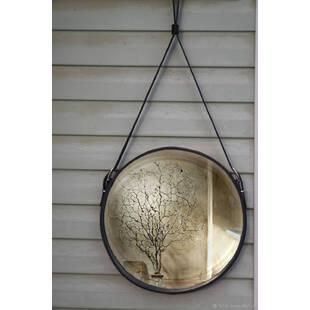Зеркало Сuir rond wall mirror