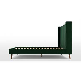 Кровать Cory на деревянных ножках, зеленая