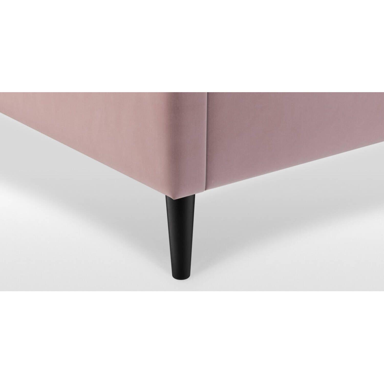 Кровать Cory на деревянных ножках, розовая