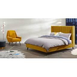 Кровать Cory на деревянных ножках, изумрудная