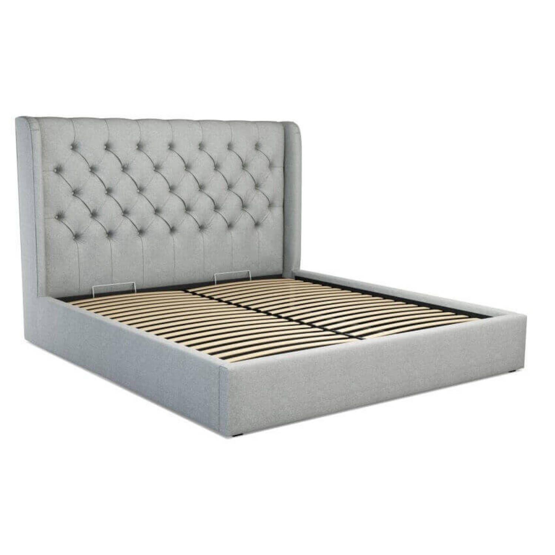 Кровать Romero с подъемным механизмом, светло-серая