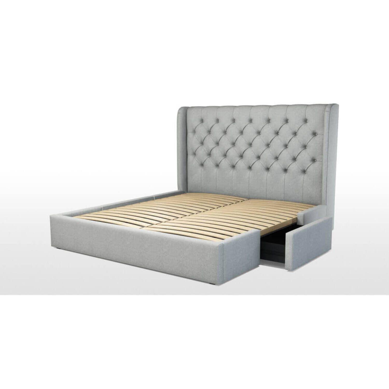 Кровать Romero с ящиками для хранения, светло-серая