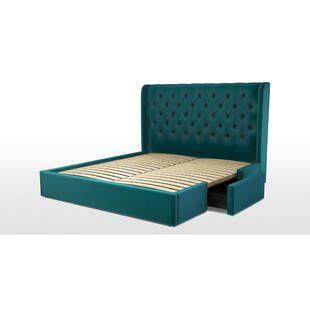 Кровать Romero с ящиками для хранения, бирюзовая