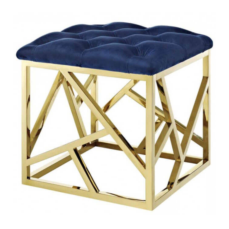 Пуф Gold geometric base, синий