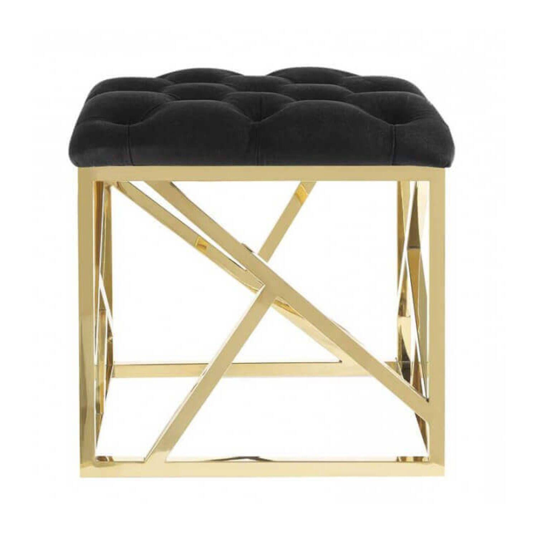 Дизайнерский черный пуф Gold geometric base