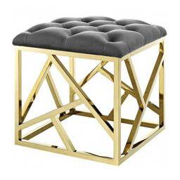 Дизайнерский серый пуф Gold geometric base