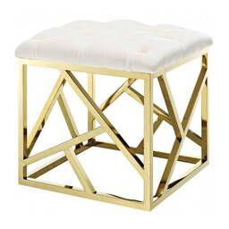 Дизайнерский белый пуф Gold geometric base