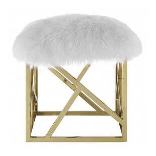 Пуф Gold geometric base, белый, искусственная овечья шерсть