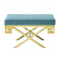 Дизайнерский голубой пуф Gold greek