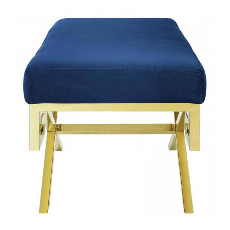 Дизайнерский синий пуф Gold greek