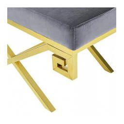 Дизайнерский серый пуф Gold greek