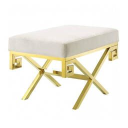 Дизайнерский белый пуф Gold greek