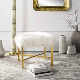 Дизайнерский белый пуф Horace с золотистым покрытием ножек