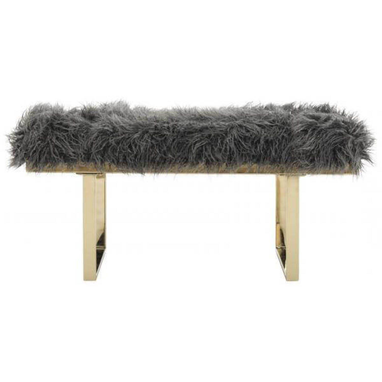 Дизайнерская серая банкетка Maia из овечьей шерсти
