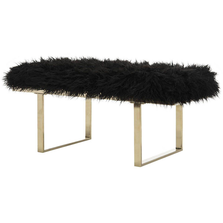 Дизайнерская черная банкетка Maia из овечьей шерсти