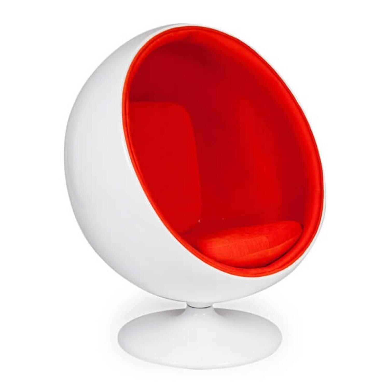 Кресло Шар Ball Chair бело-оранжевое