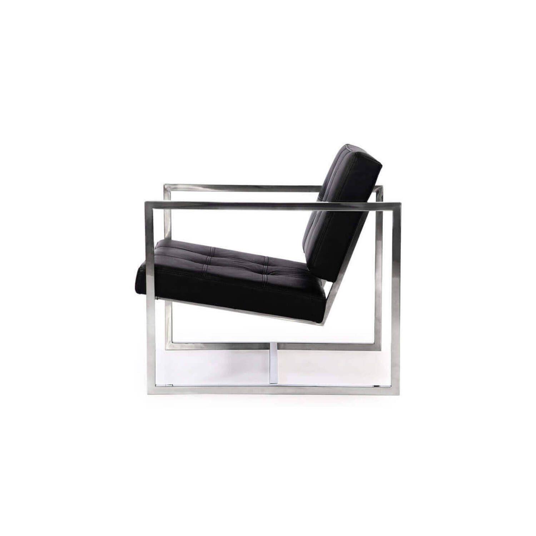 Черное кресло Cube, натуральная кожа, современный стиль Модерн & Лофт