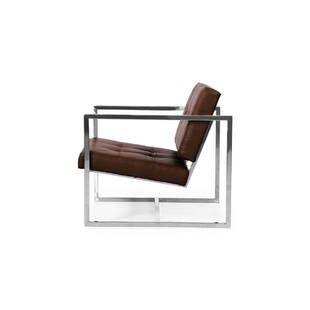 Кресло Cube коричневое кожаное