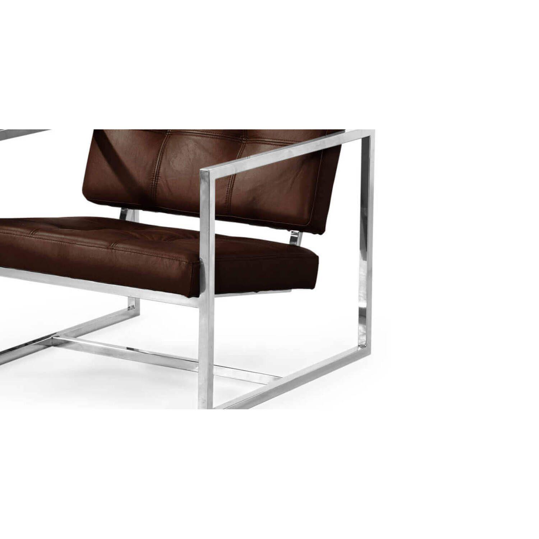 Коричневое кресло Cube, натуральная кожа, современный стиль Модерн & Лофт