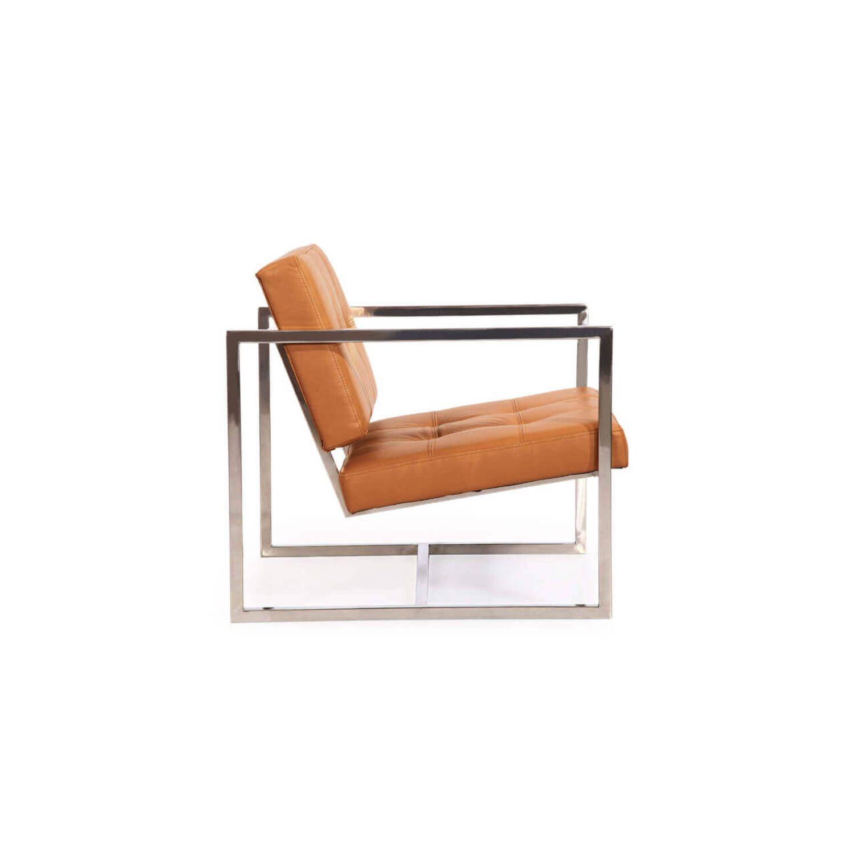 Кресло Cube оранжевое кожаное