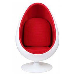 Кресло яйцо бело-красное