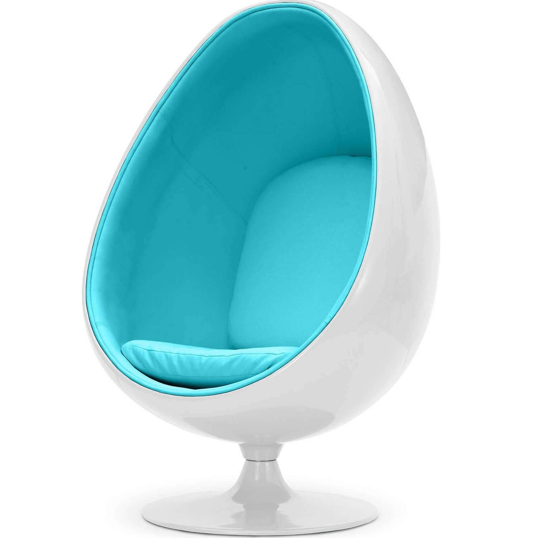 Кресло яйцо бело-синее