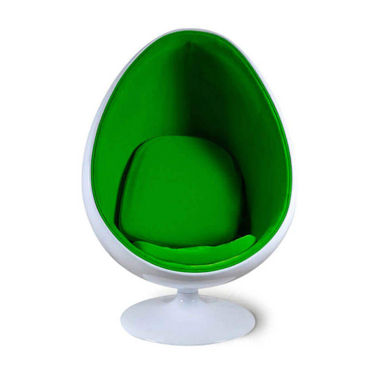 Кресло яйцо бело-зеленое
