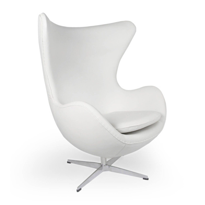 Белое кожаное кресло Egg