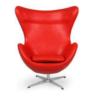 Красное кожаное кресло Egg