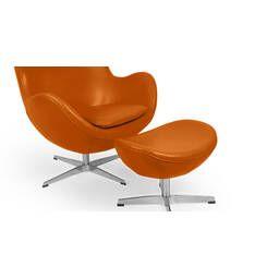 Рыжее кожаное кресло Egg