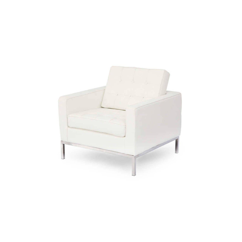 Белое кресло Florence, натуральная кожа