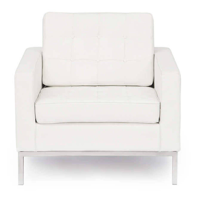 Белое кресло Florence, экокожа