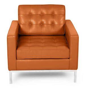 Кресло Florence, оранжевое, кожаное