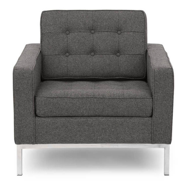 Серое кресло Florence, экокожа