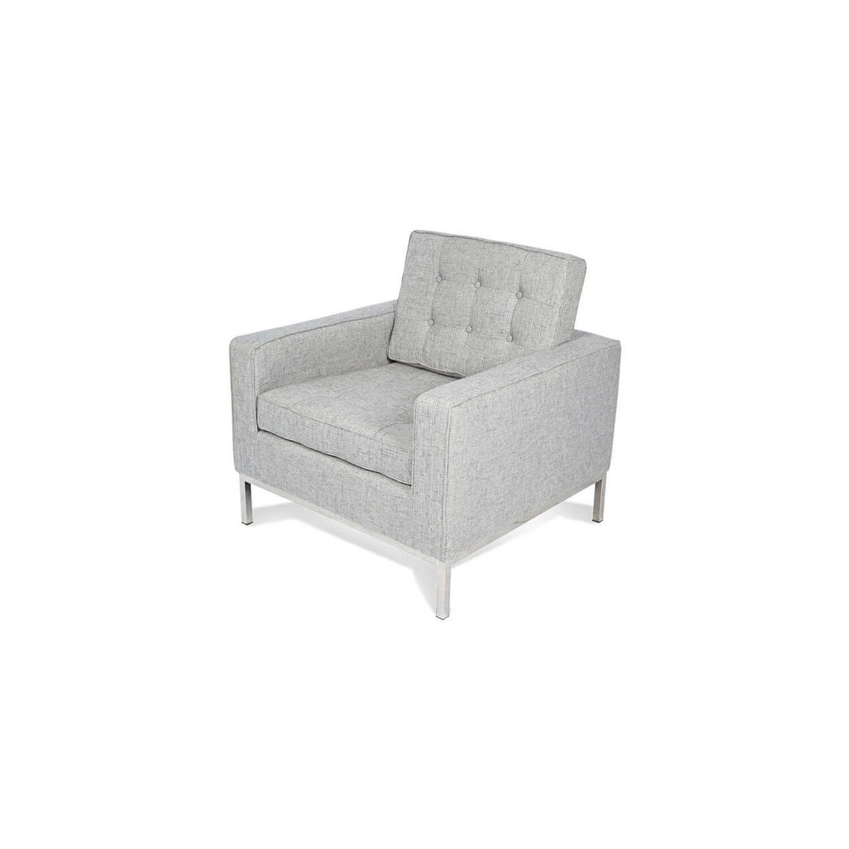 Светло-серое кресло Florence, экокожа
