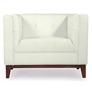 Кресло Harrison, белое, кожаное