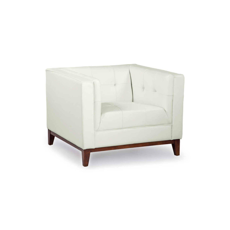Белое кресло Harrison, натуральная кожа