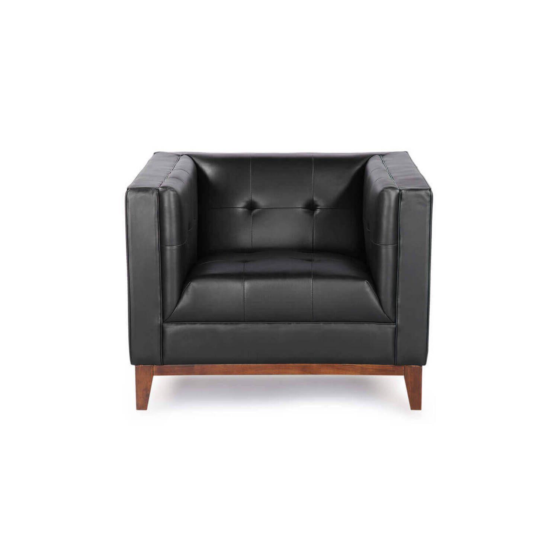 Черное кресло Harrison, натуральная кожа