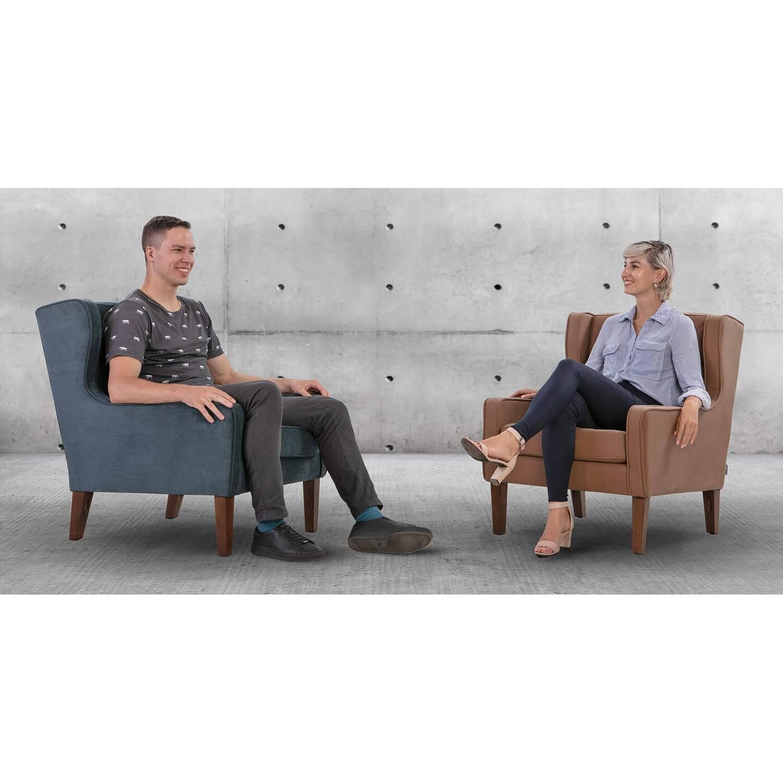 Кресло Mogenson, серое, экокожа