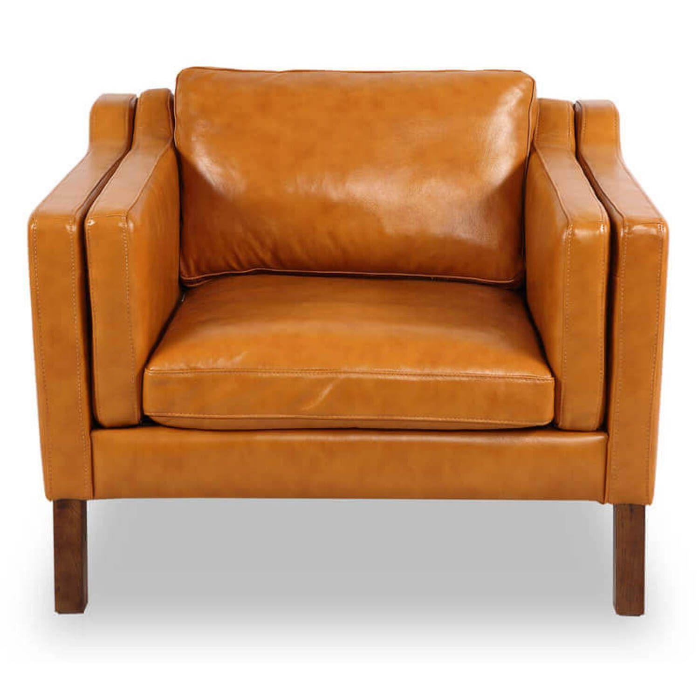 Кресло Monroe, оранжевое кожаное
