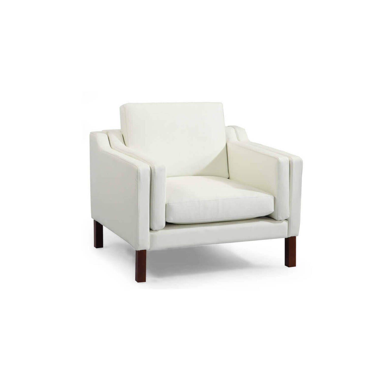 Белое кресло Monroe, экокожа, скандинавский стиль