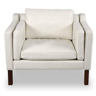 Кресло Monroe, белое кожаное