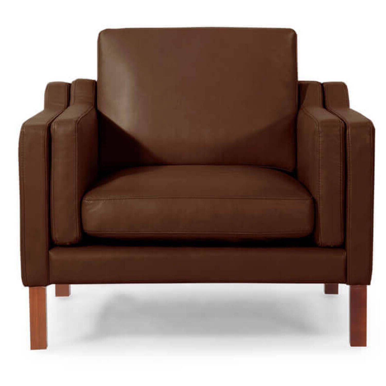 Коричневое кресло Monroe, экокожа, скандинавский стиль