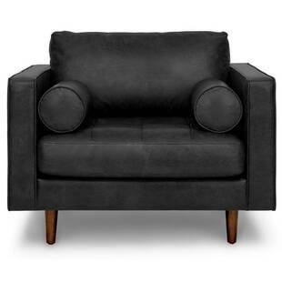 Кресло Sven, черное кожаное