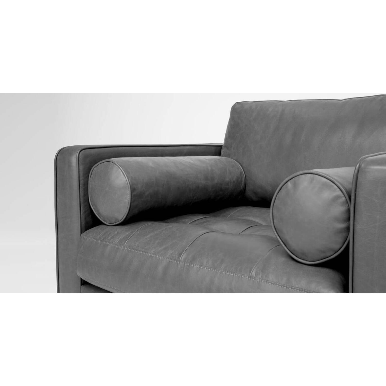 Кресло Sven, серое кожаное