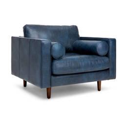 Стильное дизайнерское синее кожаное кресло Sven