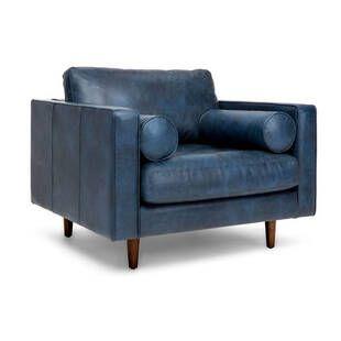 Кресло Sven, синее кожаное
