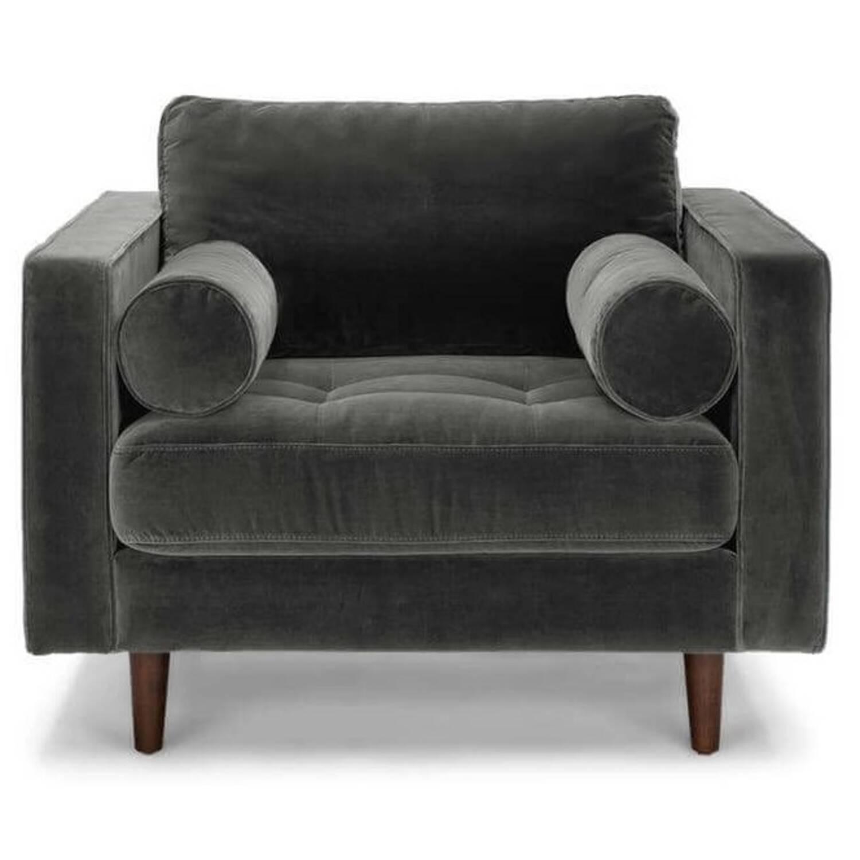Стильное дизайнерское темно-серое кресло Sven