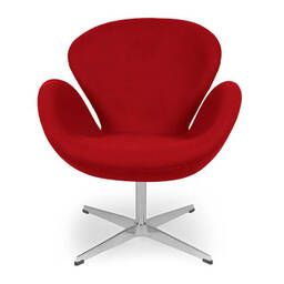 Красное кресло Swan, тканевая обивка